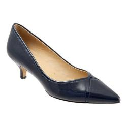 Women's Trotters Kelsey Pump Navy Glazed Kid Leather/Patent Synthetic