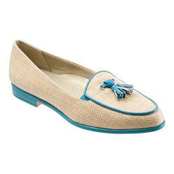 Women's Trotters Leana Natural Raffia/Turquoise Patent