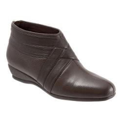 Women's Trotters Latch Ankle Boot Dark Brown Soft Tumbled Leather/Smooth Leather