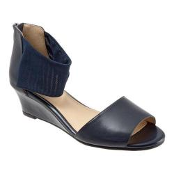 Women's Trotters Maddy Ankle Strap Sandal Navy Dress Kid Leather/Soft Mesh Stretch