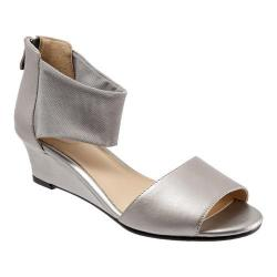 Women's Trotters Maddy Ankle Strap Sandal Pewter Dress Kid Leather/Soft Mesh Stretch