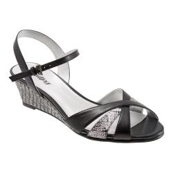 Women's Trotters Mickey Black/Grey Kid/Snake Embossed