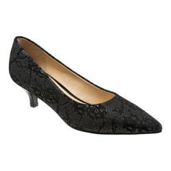 Women's Trotters Paulina Pump Black Lace Embossed Leather