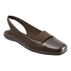 Women's Trotters Sarina Slingback Dark Brown Burnished Soft Kid/Patent Synthetic