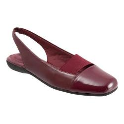 Women's Trotters Sarina Slingback Dark Red Burnished Soft Kid/Patent Synthetic