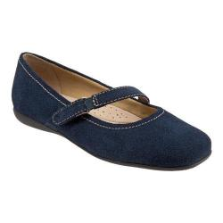 Women's Trotters Simmy Mary Jane Navy Cow Suede
