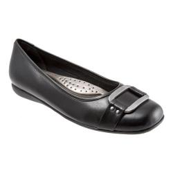 Women's Trotters Sizzle Signature Flat Black Burnished Soft Kidskin