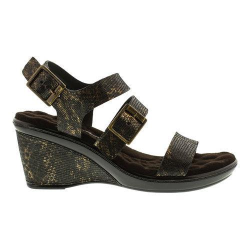 ... Women's Walking Cradles Lean Wedge Sandal Black/Bronze Lizard Print  Leather ...