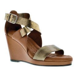 Women's Walking Cradles Karson Wedge Sandal Luggage Maia/Old Gold Ant Metallic