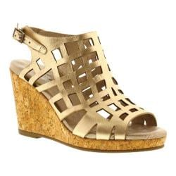 Women's Walking Cradles Kennedy Wedge Sandal New Gold Mestico Pillow Leather