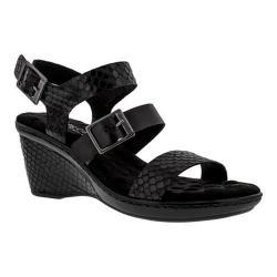 Women's Walking Cradles Lean Wedge Sandal Black Snake Print/Black Soft Leather