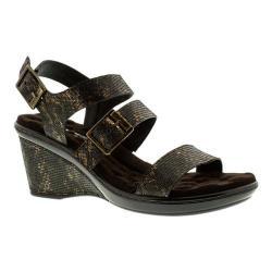 Women's Walking Cradles Lean Wedge Sandal Black/Bronze Lizard Print Leather