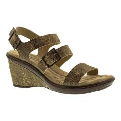 Women's Walking Cradles Lean Wedge Sandal Taupe/Gold Lizard Print Leather