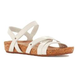 Women's Walking Cradles Pool Strappy Sandal White Cashmere Leather/Cork