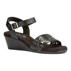 Women's Walking Cradles Nara Wedge Sandal Black Soft Antanado Leather