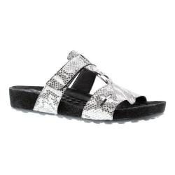 Women's Walking Cradles Penny Slide Silver Snake Print/Black Suede