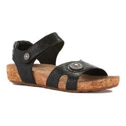 Women's Walking Cradles Pickens Sandal Black Razor Leather/Cork