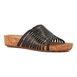 Women's Walking Cradles Piece Slide Black Soft Antanado Leather/Cork