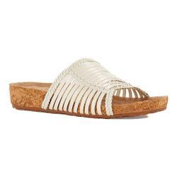 Women's Walking Cradles Piece Slide White Soft Antanado Leather/Cork