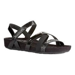 Women's Walking Cradles Pool Strappy Sandal Black Textured Multi Leather/Suede