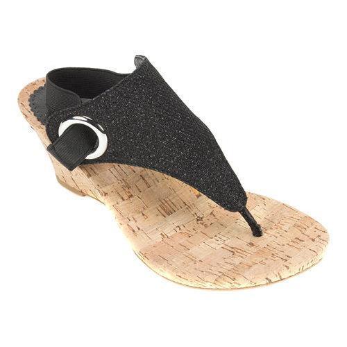 Women's White Mountain Aida Thong Wedge Sandal Black Glitter Synthetic