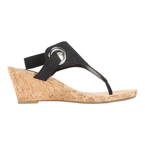 Shop Women S White Mountain Aida Thong Wedge Sandal Black