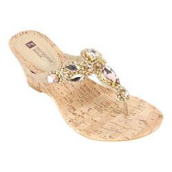 Women's White Mountain Abra Thong Wedge Sandal Gold/Multi Leather