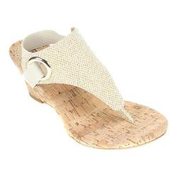 Women's White Mountain Aida Thong Wedge Sandal Gold Glitter Synthetic