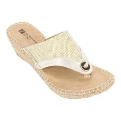 Women's White Mountain Bandana Thong Wedge Sandal Gold Glitter Synthetic
