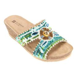 Women's White Mountain Best Wedge Slide Blue/Green Leather