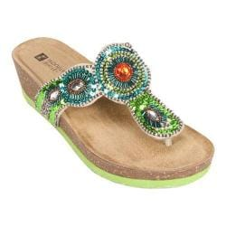 Women's White Mountain Blast Green Suede/Multi Beading