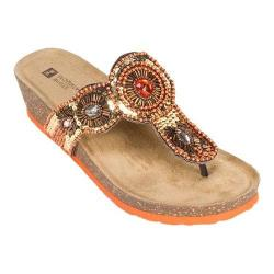 Women's White Mountain Blast Orange Suede/Multi Beading