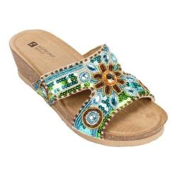 Women's White Mountain Blinker Blue/Green Leather