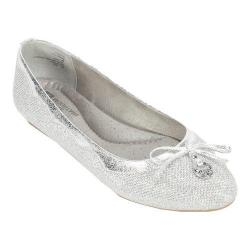 Women's White Mountain Cece Ballet Flat Silver Glitter