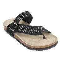 Women's White Mountain Coaster Thong Sandal Black Suede