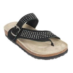 Women's White Mountain Coaster Thong Sandal Black Suede (More options available)