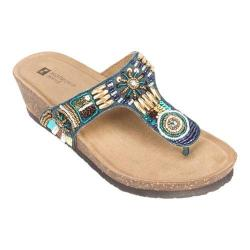Women's White Mountain Brilliant Beaded Thong Sandal Navy/Multi Leather