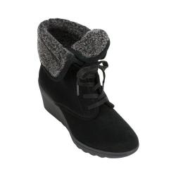 Women's White Mountain Koko Wedge Heel Bootie Black Suede