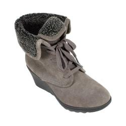 Women's White Mountain Koko Wedge Heel Bootie Dark Charcoal Suede