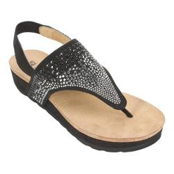 Women's White Mountain Safari Thong Sandal Black Fabric