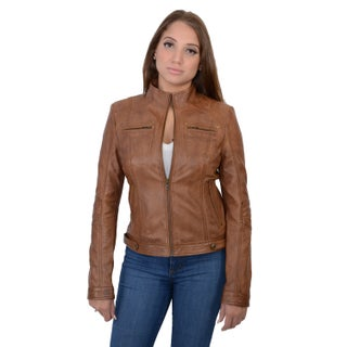 Women's Lambskin Leather Racer Jacket (More options available)