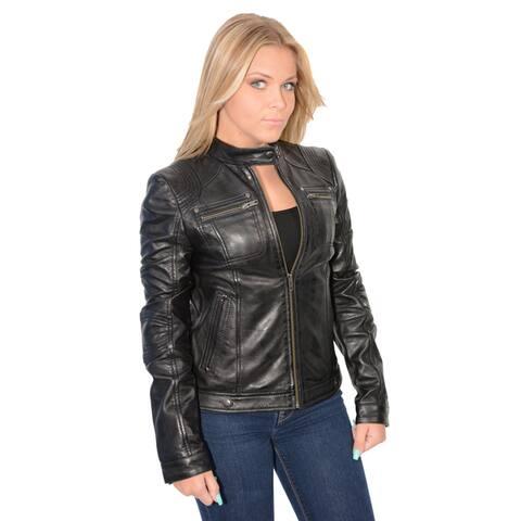 Women's Lambskin Leather Racer Jacket