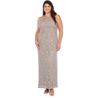 R&M Richards Plus Size Long Lace Dress