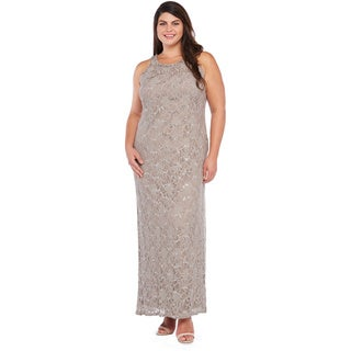 R&M Richards Women's Plus Size Long Lace Dress