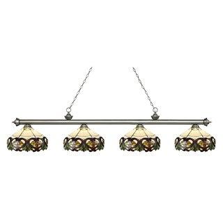 Z-Lite Riviera Antique Silver 4-lights Antique Silver Tiffany-style Finished Island/ Billiard Light