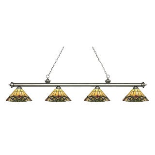 Z-Lite Riviera Antique Silver 4-lights Antique Silver Tiffany Finished Island/ Billiard Light