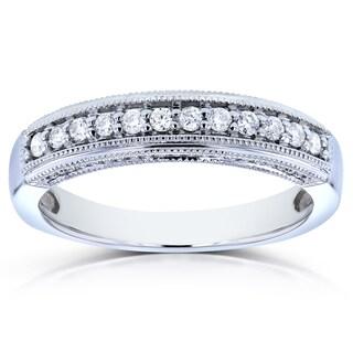 Annello 14k White Gold 1/6ct TDW Curved Diamond Ring (H-I, I1-I2)