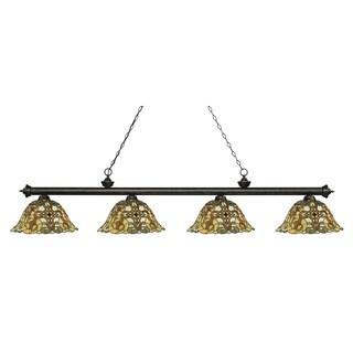 Z-Lite Riviera Golden Bronze 4-lights Golden Bronze Tiffany-style Finished Island/ Billiard Light