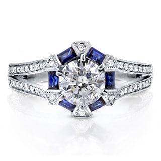 Annello 14k White Gold Sapphire and 1 1/4ct TDW Diamond Art Deco Engagement Ring (H-I, I1-I2)