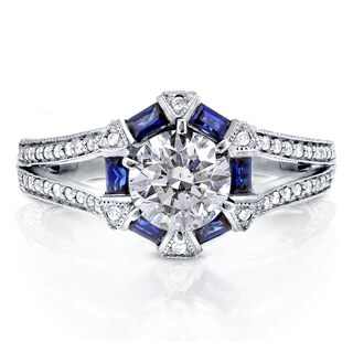 Annello by Kobelli 14k White Gold Sapphire and 1 1/4ct TDW Diamond Art Deco Engagement Ring